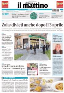il mattino di padova prima pagina 25 marzo 2020
