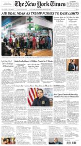 the new york times prima pagina 25 marzo 2020