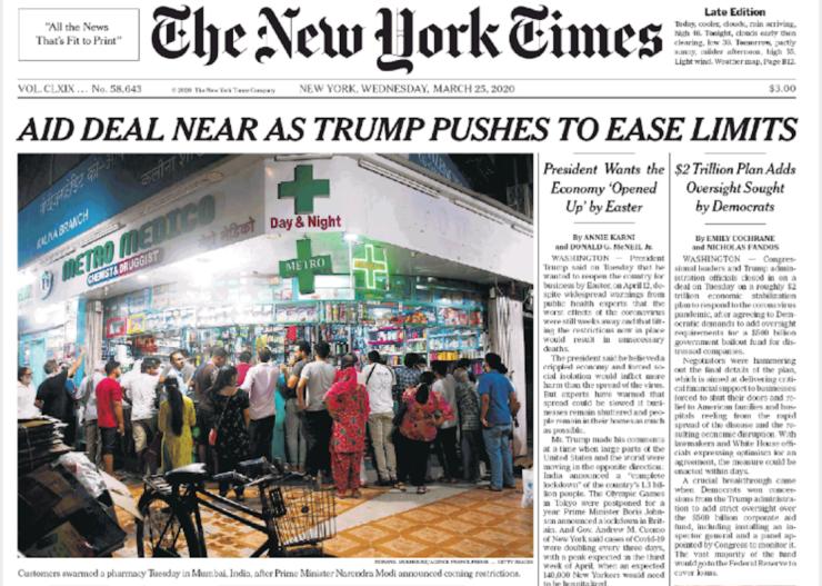 NYT prima pagina 25 marzo 2020