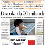 la Repubblica prima pagina 26 marzo 2020