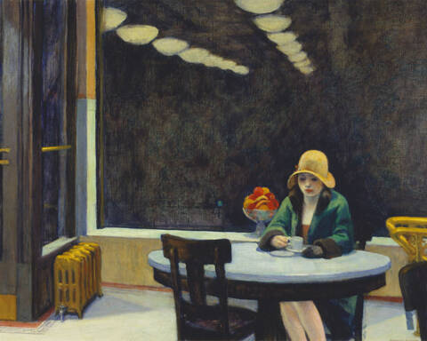 "Edward Hopper, ""Automat"", 1927, Pittura a olio, 71 cm x 91 cm"